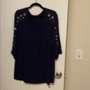 Tops - Navy shirt with silver metal details on sleeves